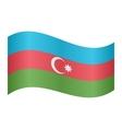 Flag of Azerbaijan waving on white background vector image vector image