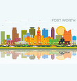 fort worth texas city skyline with color vector image vector image