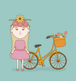 girl with head flowers and bicycle with basket vector image