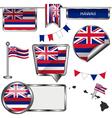 glossy icons with hawaiian flag vector image