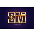 gold golden alphabet letter sm s m logo