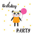 happy birthday greeting card cute postcard with vector image