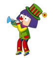 happy clown blowing trumpet vector image vector image