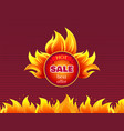 hot sale best offer promo label with fire splashes vector image vector image