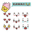 kawaii emojis set asian japanese smileys vector image