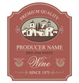 label for wine with european rural landscape vector image vector image
