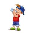 Little boy drinks water vector image vector image