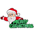 merry christmas sign with santa vector image vector image