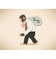 Monkey with money sack vector image vector image
