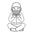 muslim man praying at nightramadan month using vector image