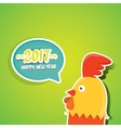 new year 2017 with cartoon funny rooster vector image vector image