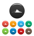 nice mountain icons set color vector image vector image