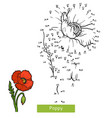 numbers game for children flower poppy vector image vector image