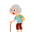 old senior woman tourist with backpack and stick vector image vector image