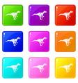 ornithopod dinosaur icons 9 set vector image vector image