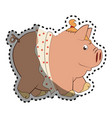 piggy character funny icon vector image vector image