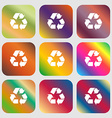 processing icon Nine buttons with bright gradients vector image