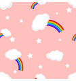 rainbow and clouds seamless pattern vector image