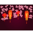 Red Chinese lanterns in a park Cylindrical and vector image vector image