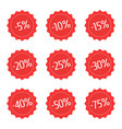 red discount stickers set vector image vector image