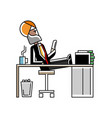 relaxed indian man with her feet on the table vector image