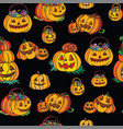 seamless pattern with pumpkins and halloween vector image vector image