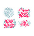 set happy new year text calligraphic vector image vector image