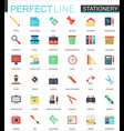 set of flat stationery icons vector image