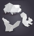 set of paper origami figures of animals vector image vector image