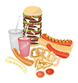 Set of Refreshing Soda Drinks and Fast Food vector image vector image