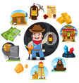 set on theme goldfield wild west vector image vector image
