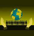 silhouette of group children standing front world vector image
