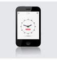 Smartphone with Clock on Grey Background vector image vector image