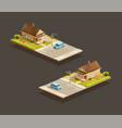 suburban family houses with mpv on street vector image vector image