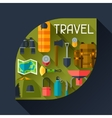 Tourist background with camping equipment in flat vector image vector image