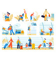 tourists with baggage in airport people traveling vector image vector image