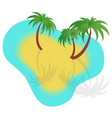 with boats sand and palm trees vector image vector image