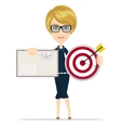 woman with target and letter vector image vector image