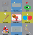 Ball game icon basketball soccer golf and volley vector image