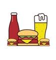 burger beer sauce drawing in line vector image