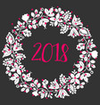 2018 new year wreath isolated on black background vector image vector image
