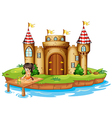 A girl sitting with a frog in front of a castle vector | Price: 1 Credit (USD $1)
