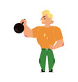 athlete strongman weightlifter lifting kettlebell vector image
