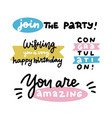 birthday party lettering set inscription vector image vector image