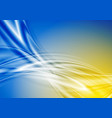blue and yellow abstract smooth waves background vector image vector image