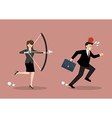 Business woman try to shoot at apple on colleague vector image vector image