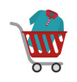 cart shopping with shirt isolated icon vector image vector image