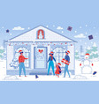 cartoon family visits friends on christmas holiday vector image