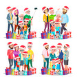 christmas family set big full happy family vector image vector image