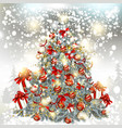 christmas tree on a silver glitter particles vector image